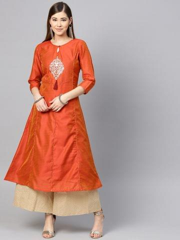 Women Rust Orange Pittan Work Dual-Toned A-Line Kurta