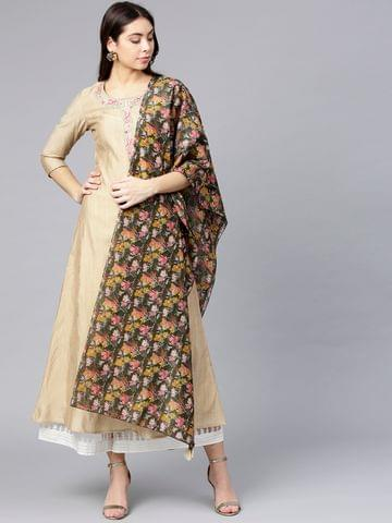 Women Beige Solid A-Line Kurta with Printed Dupatta