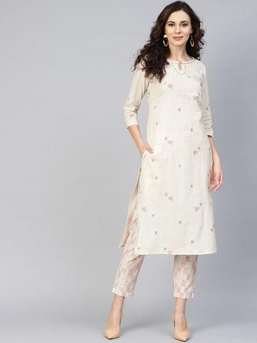 Yufta Women Off-White Printed Kurta with Trousers