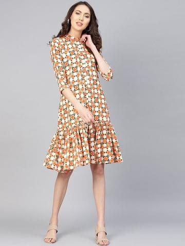 Yufta Women Orange & White Printed Drop Waist Dress