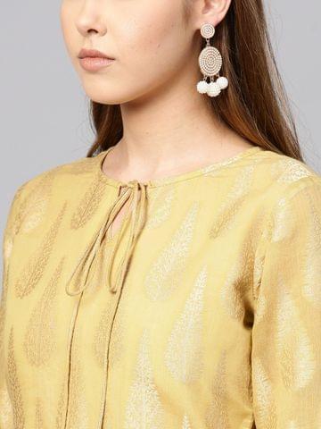 Yufta Women Beige Woven Design Brasso Straight Kurta