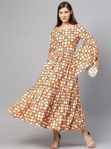 Yufta Women Orange & Off White Printed Maxi Dress