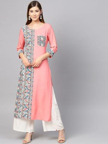Yufta Women Pink & Blue Printed Straight Kurta