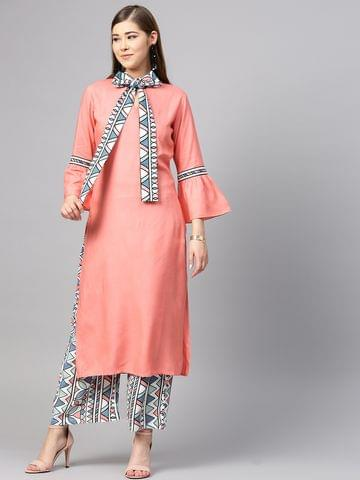 Yufta Women Pink & White Solid Kurta with Palazzos