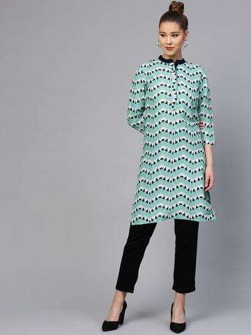 Yufta Women Green & Navy Blue Printed Straight Kurta