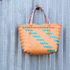 HabereIndia - Boho Plastic Bag/tote bag/shopping bag/reusable bag (Color - Orange)