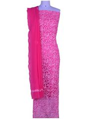 Rohia by Chhangamal Hand Embroidered Pink Georgette Unstiched Chikan Suit Length(Kurta 2.5 M, Bottom 2 M, Dupatta 2.15 M)