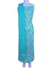 Rohia by Chhangamal Hand Embroidered Turquoise Georgette Unstiched Chikan Suit Length(Kurta 2.5 M, Bottom 2 M, Dupatta 2.15 M)