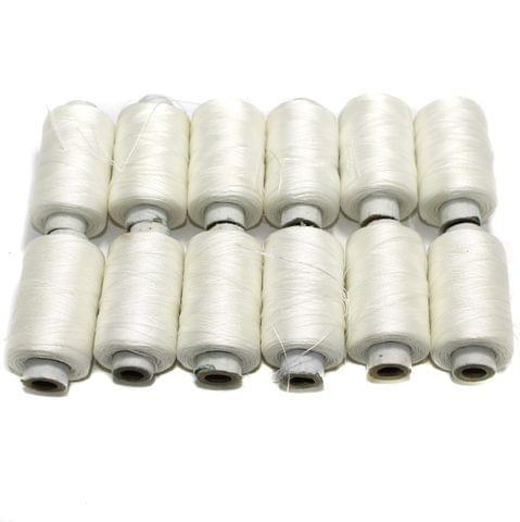 3 Ply Satin Threads White 12 Pcs