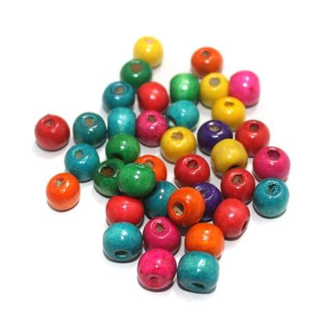 Wooden Round Multicolor Beads 10mm, 200 Pcs