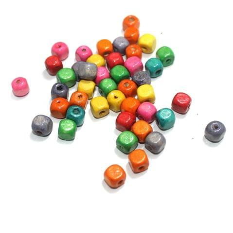 Wooden Cube Multicolor Beads 8mm, 200 Pcs