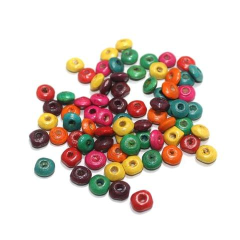 Wooden Donut Multicolor Beads 6mm, 500 Pcs