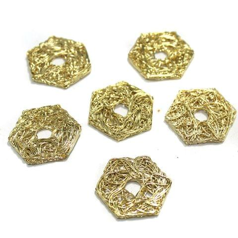 20 Pcs Wire Mesh Beads Golden 26x26mm