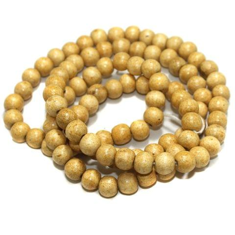 100 Pcs Wooden Round Beads Cream 12mm