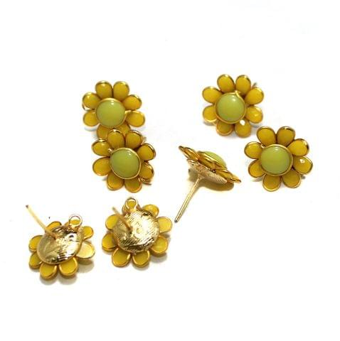 5 Pairs Single Layer Pacchi Earing Tops Yellow 18mm
