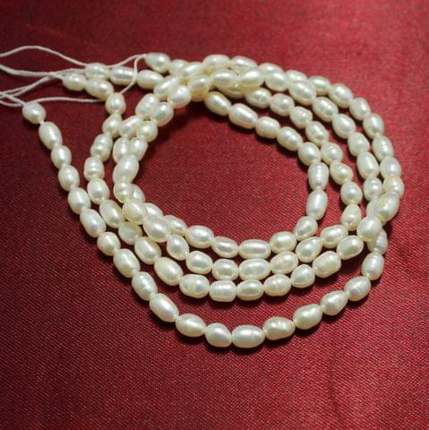2 Strings Water Pearl Beads 5.5x4.5mm Off White