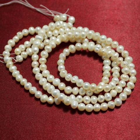 2 Strings Water Pearl Beads Round 5mm Off White
