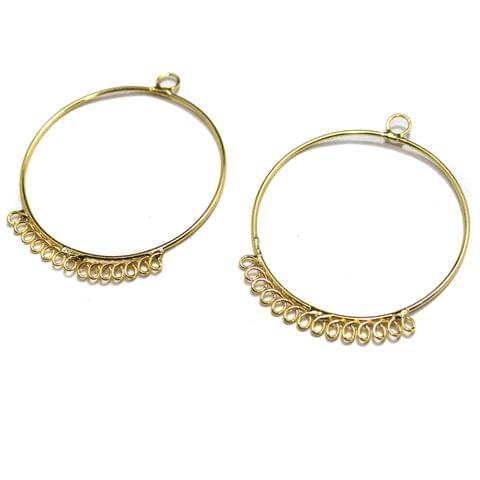 5 Pairs Metal Earrings Components Round 1.75 Inch