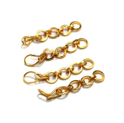 50 Pcs German Silver Extender Chain With Hooks Golden 1 Inch