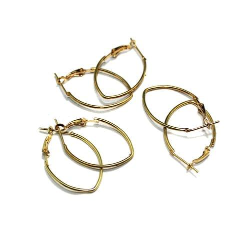 5 Pairs Metal Earrings Components Oval 35x20mm