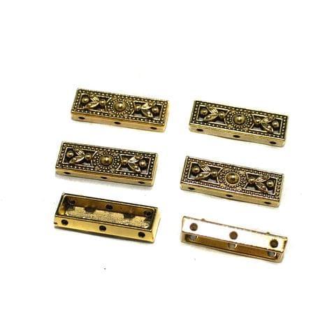 20 Pcs German Silver 3 Strands Connectors Golden 24x8mm