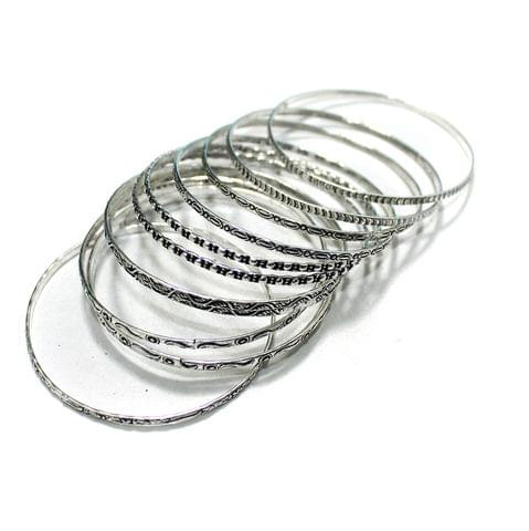 12 Pcs Bangle Base Silver 2`6 Inch
