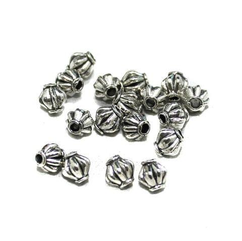 50 Pcs German Silver Bicone Beads Silver 4x4mm