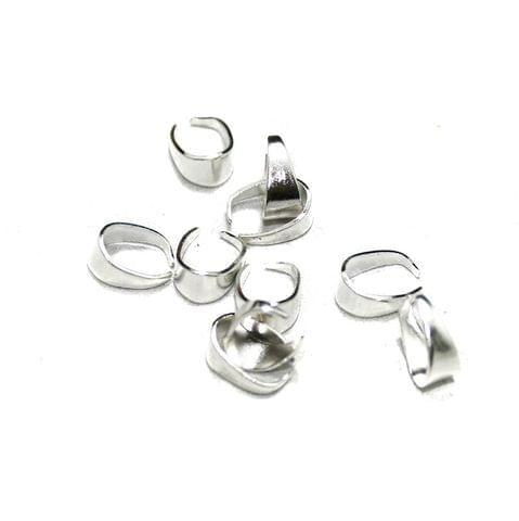 100 Pcs German Silver Pinch Bails Silver 10x4mm