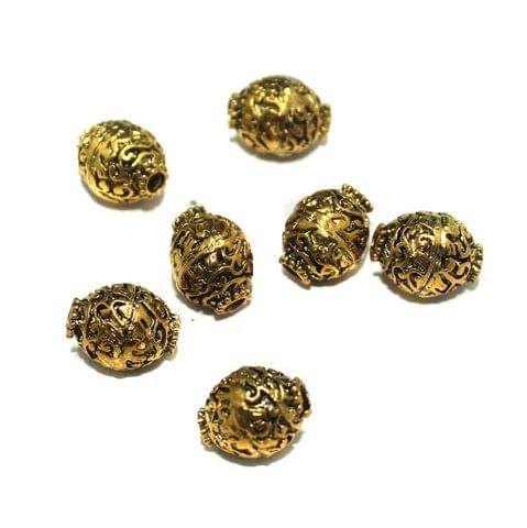 10 Pcs German Silver Golden Plated Beads 15x12mm