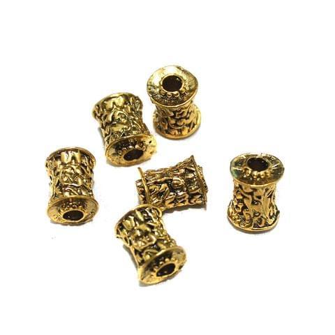 10 Pcs German Silver Golden Plated Beads 16x12mm