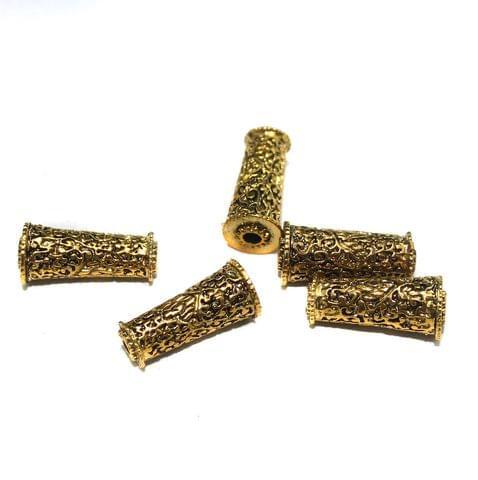 10 Pcs German Silver Golden Plated Beads 25x12mm
