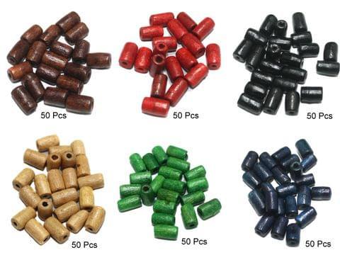 300 Pcs Wooden Beads Tube 6 Colors 10x5mm