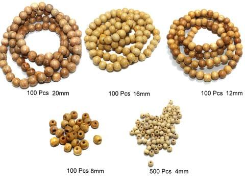 900 Pcs Wooden Beads Assorted 5 Sizes 4 - 20mm