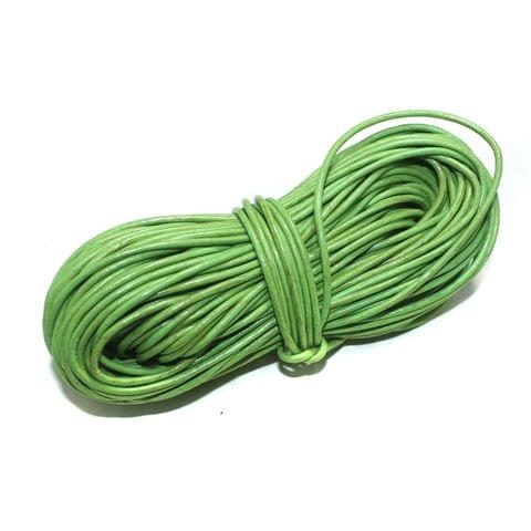 Jewellery Making Leather Cord 2mm Parrot Green 25 Mtr