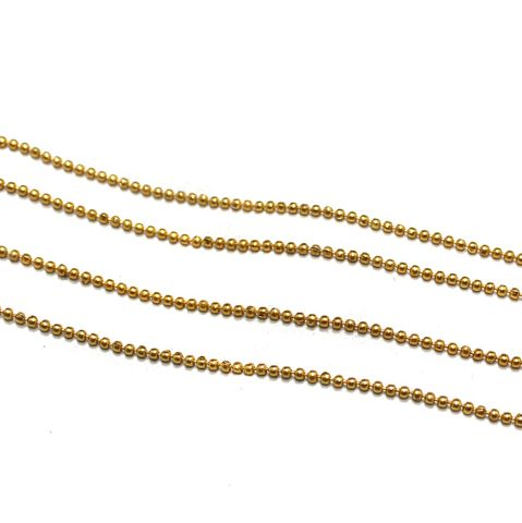 10 Metal Aluminium Ball Chain Golden 1.5mm