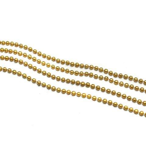 10 Metal Aluminium Ball Chain Golden 2.5mm