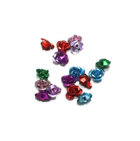 100 Pcs Multi Colored Flower Beads 8mm