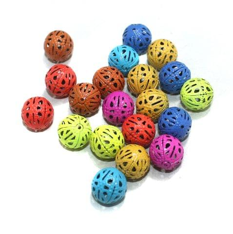 20 Pcs Multi Colored Round Beads 14mm