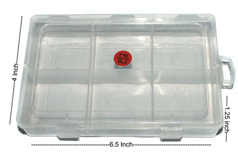 2 Pcs Rectangle Shape Acrylic Beads Storage Box 6.5x4x1.25 Inch