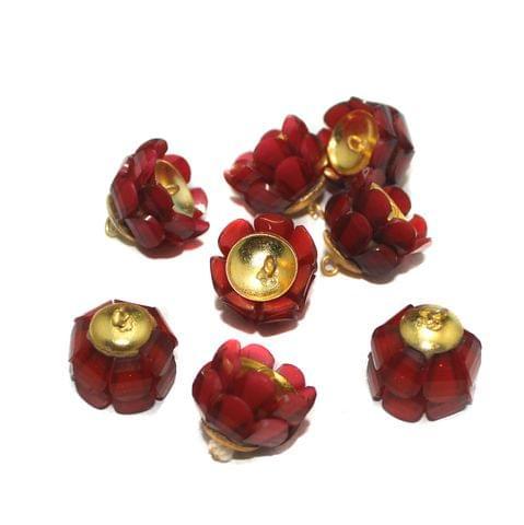 Red Takkar Work Earring Components 15x18mm, 10 Pcs