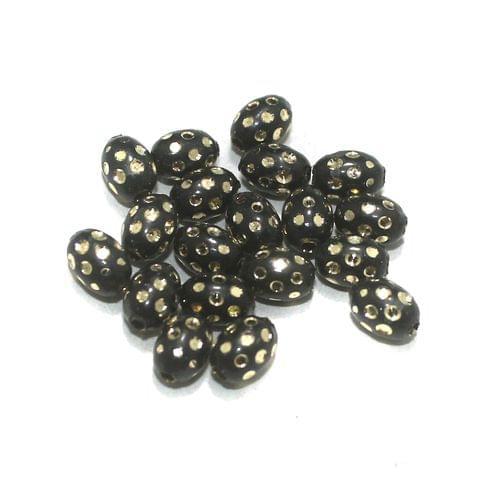 Black Brass Beads Oval 100 Pcs, 8x6mm