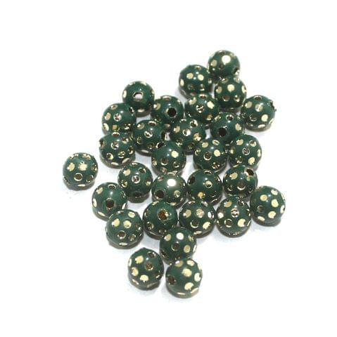 Green Brass Beads Round 100 Pcs, 6mm