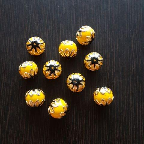 10pcs, Yellow Black, Meenakari Balls, 12mm