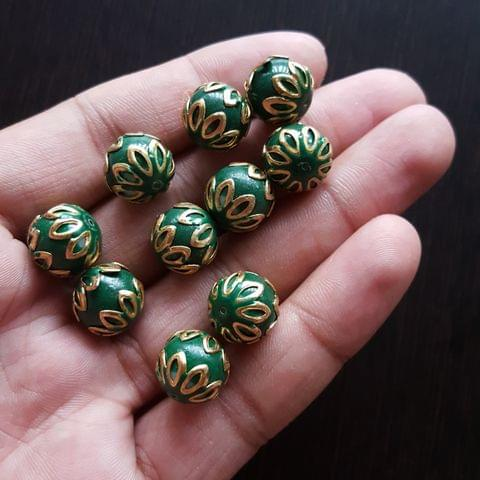 10pcs, Dark Green, Meenakari Balls, 12mm