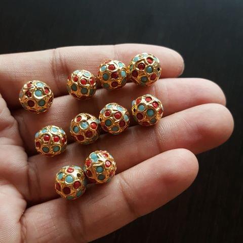 10pcs, Turquoise Moonga Jadau Balls, 12mm