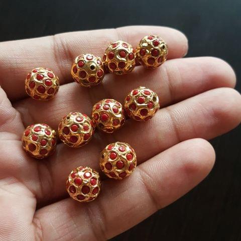 10pcs, Moonga Jadau Balls, 12mm