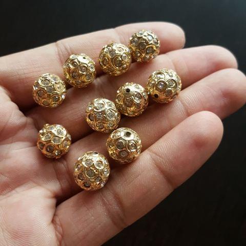 10pcs, White Stone Jadau Balls, 12mm