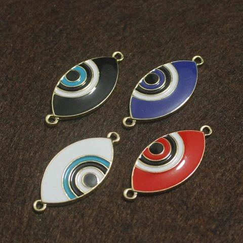 Multi Color Brass Evil Eye Connectors 4 Pcs, 27x15mm