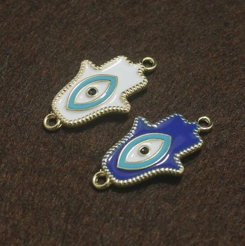 White and Blue Evil Eye Hamsa Hand Connectors 2 Pcs, 32x19mm