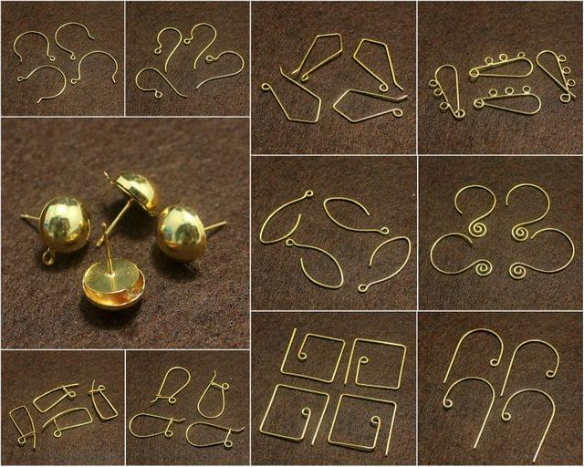 44 Pcs Combo Brass Earrings Components Golden